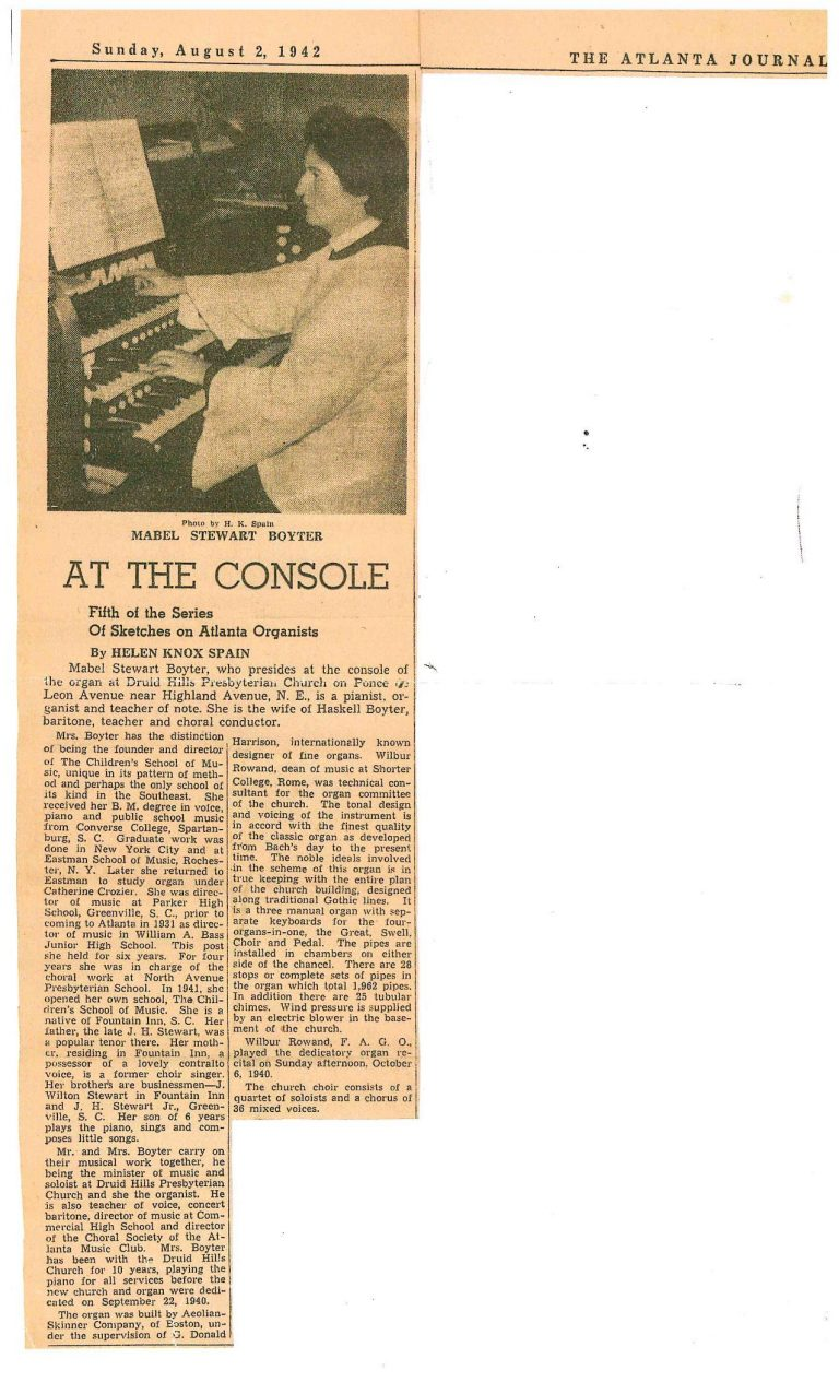 """At The Console"": A Sketch of Organist Mabel Boyter, from the AJC, 1942"