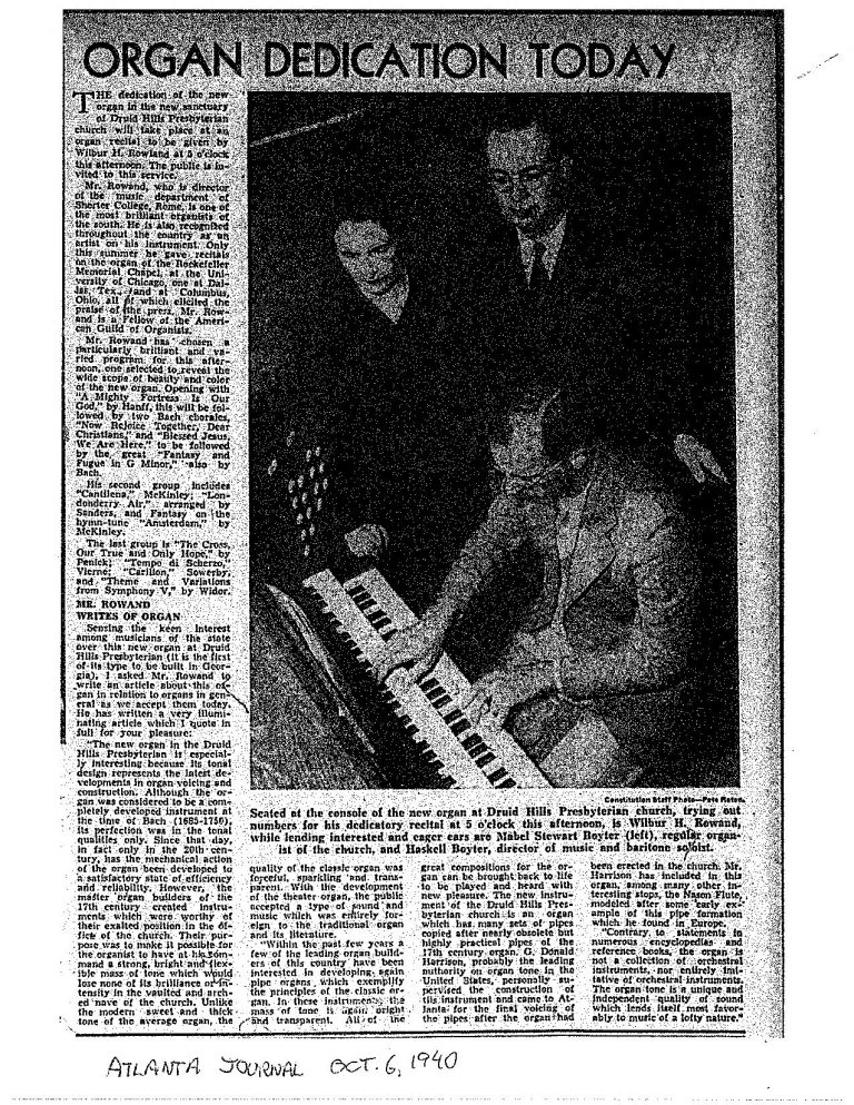 """Organ Dedication Today"" from AJC, 1940"